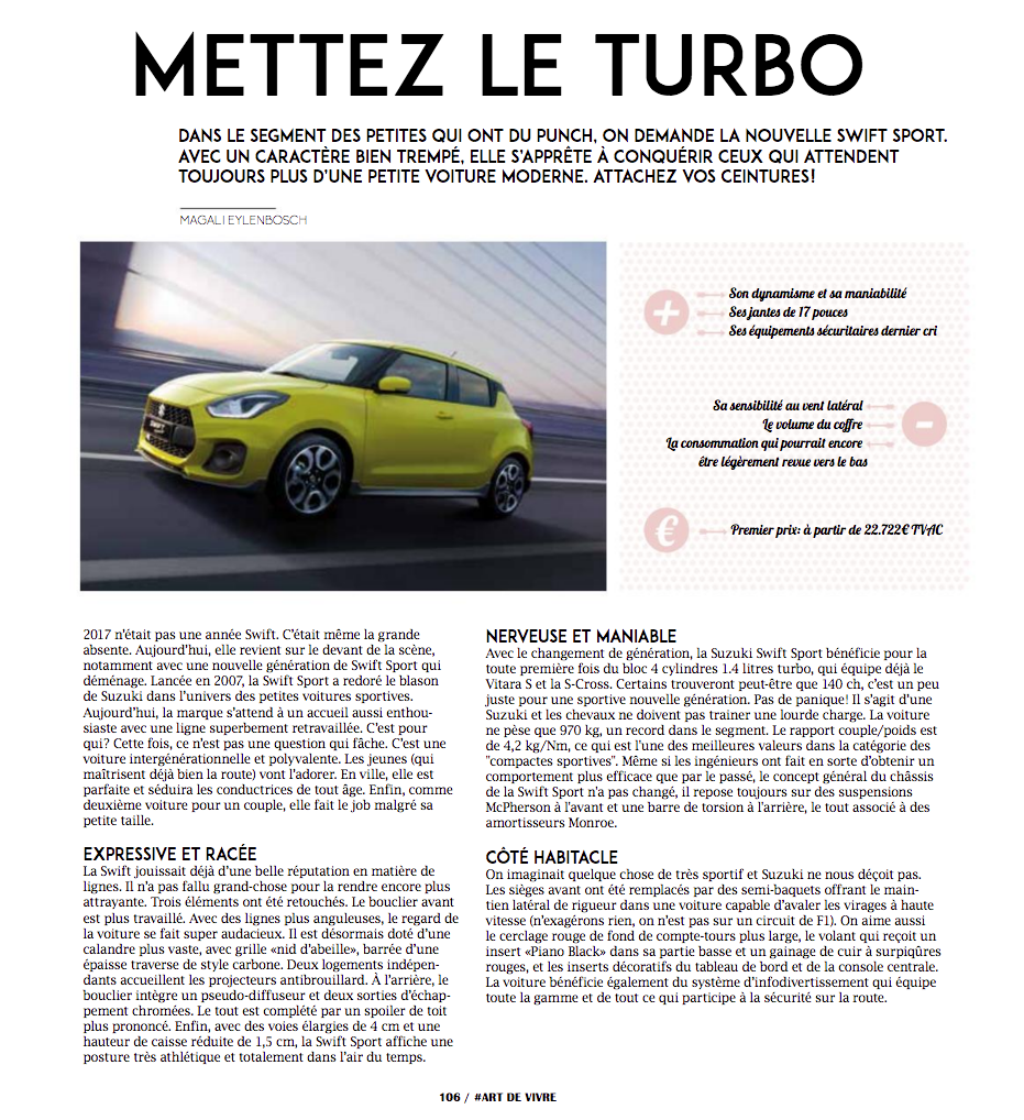 Article Suzuki Swift